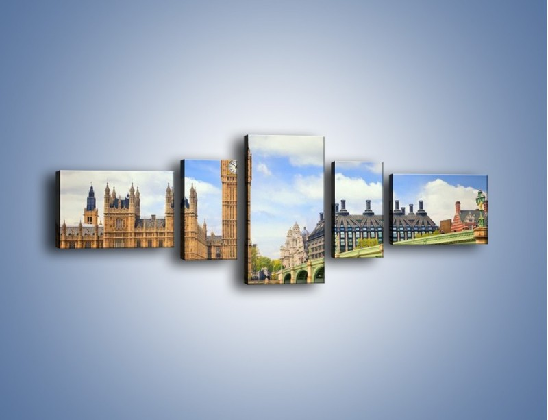 Obraz na płótnie – Big Ben w pochmurny dzień – pięcioczęściowy AM095W6