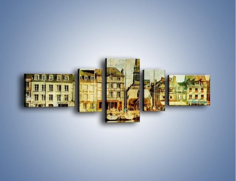 Obraz na płótnie – Łódki nad brzegiem miasteczka w stylu vintage – pięcioczęściowy AM108W6