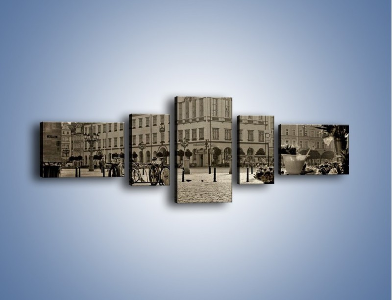 Obraz na płótnie – Rynek Starego Miasta w stylu vintage – pięcioczęściowy AM138W6