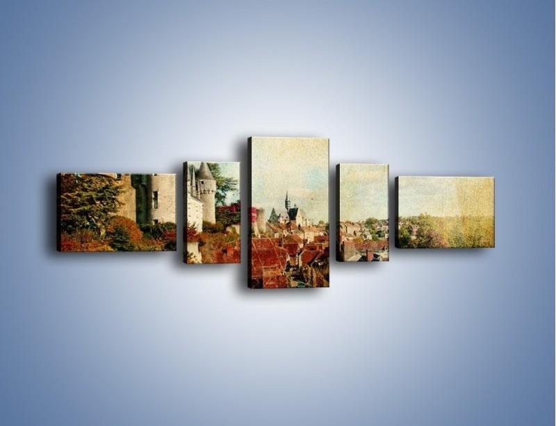 Obraz na płótnie – Zamek nad miasteczkiem w stylu vintage – pięcioczęściowy AM142W6