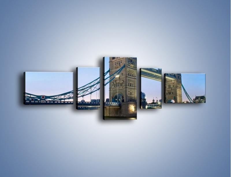 Obraz na płótnie – Tower Bridge o poranku – pięcioczęściowy AM143W6