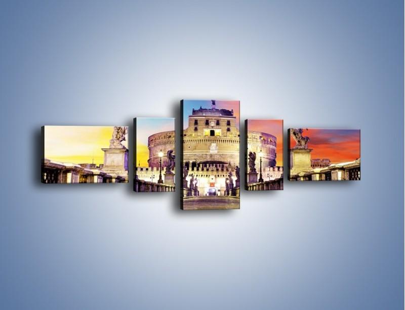 Obraz na płótnie – Zamek św. Anioła na tle kolorowego nieba – pięcioczęściowy AM156W6