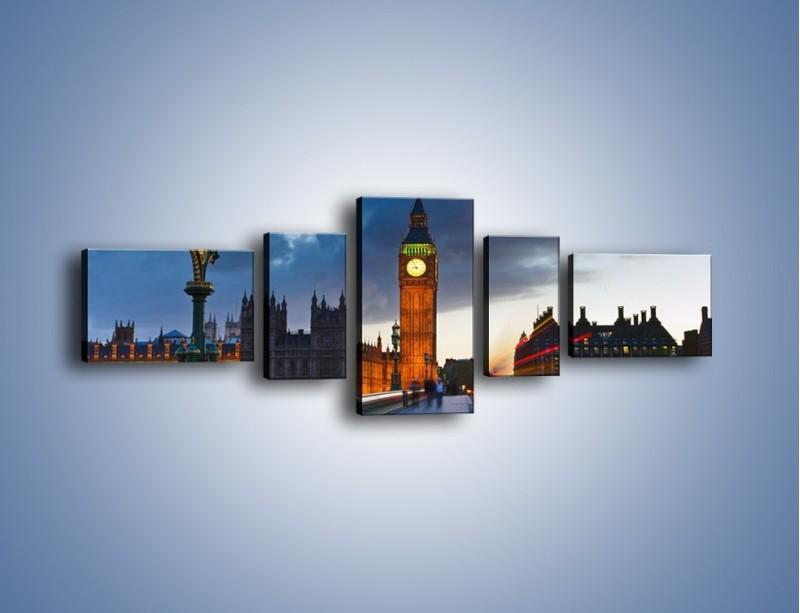 Obraz na płótnie – Big Ben świetle lamp – pięcioczęściowy AM166W6