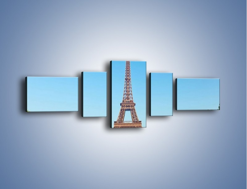 Obraz na płótnie – Wieża Eiffla pod błękitnym niebem – pięcioczęściowy AM171W6