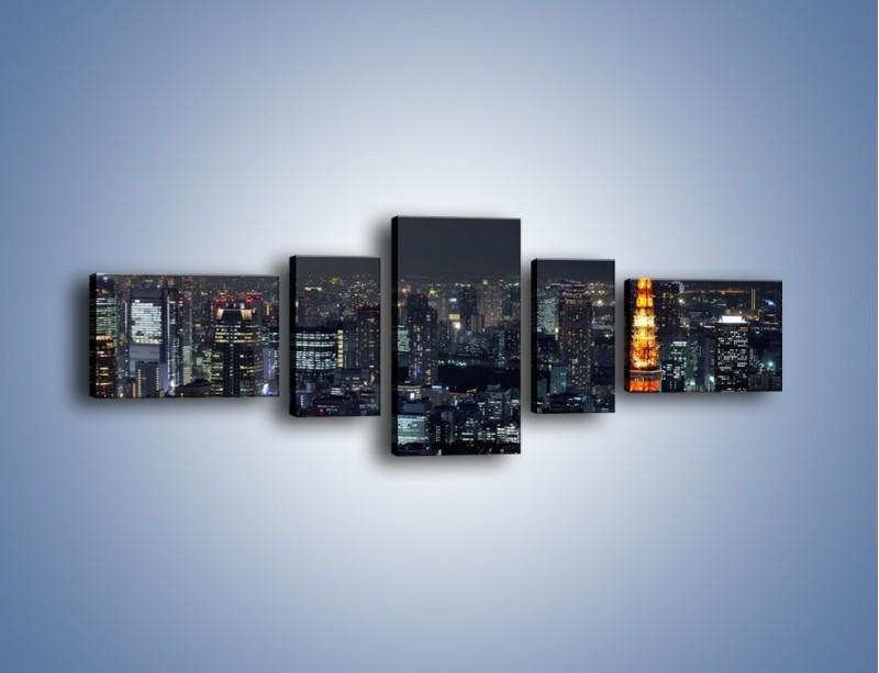 Obraz na płótnie – Rozświetlona Wieża Eiffla nocą – pięcioczęściowy AM174W6