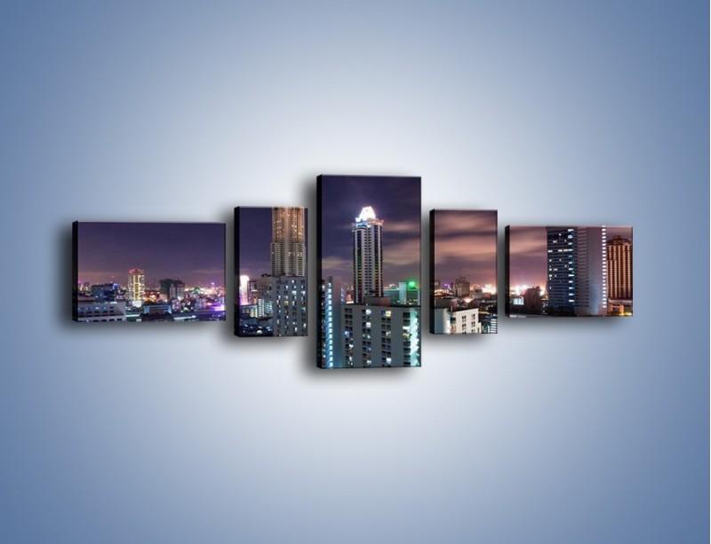 Obraz na płótnie – Duże miasto nocą – pięcioczęściowy AM202W6