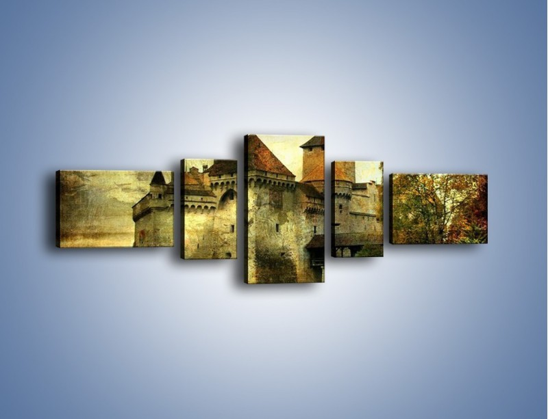 Obraz na płótnie – Średniowieczny zamek w stylu vintage – pięcioczęściowy AM233W6