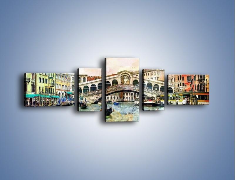 Obraz na płótnie – Wenecja w stylu vintage – pięcioczęściowy AM239W6