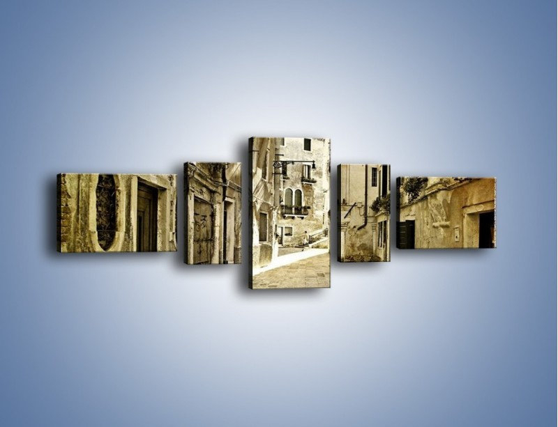 Obraz na płótnie – Stara uliczka w stylu vintage – pięcioczęściowy AM243W6