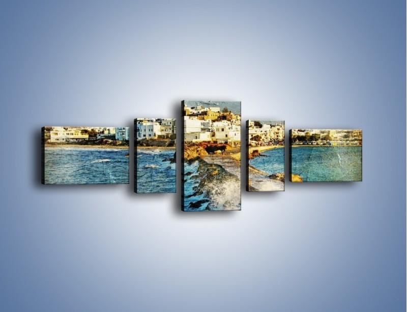 Obraz na płótnie – Grecka dróżka przez wodę vintage – pięcioczęściowy AM268W6