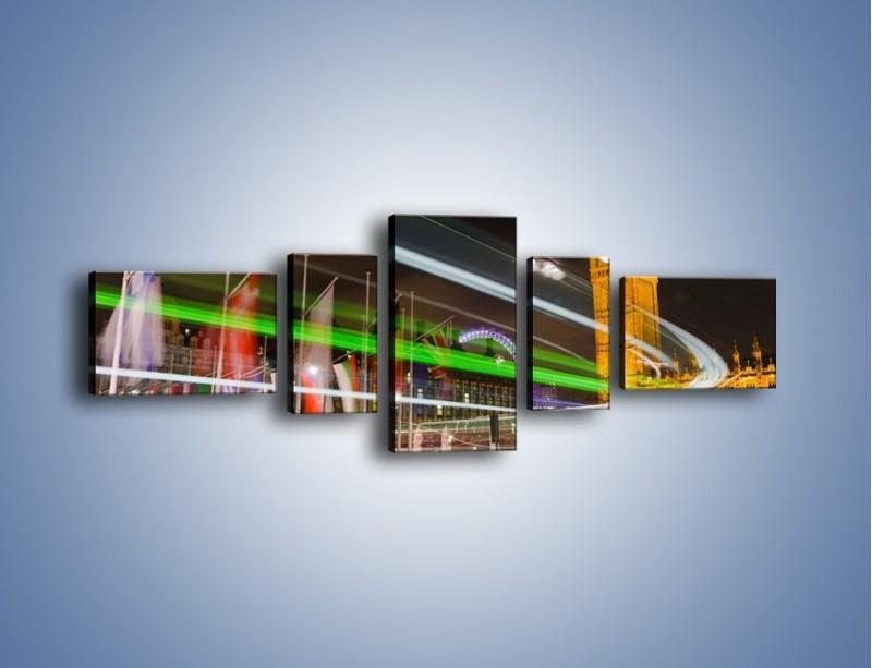 Obraz na płótnie – Światła samochodów na tle Big Bena – pięcioczęściowy AM283W6
