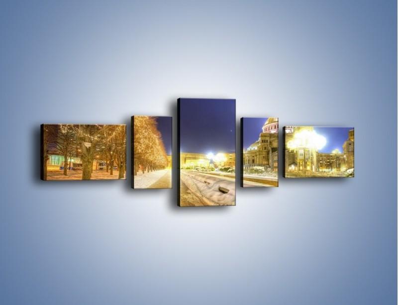 Obraz na płótnie – Zaśnieżona aleja bostońska – pięcioczęściowy AM317W6