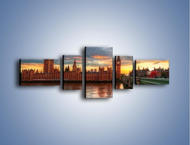 Obraz na płótnie – Pałac Westmnisterski i Big Ben – pięcioczęściowy AM321W6