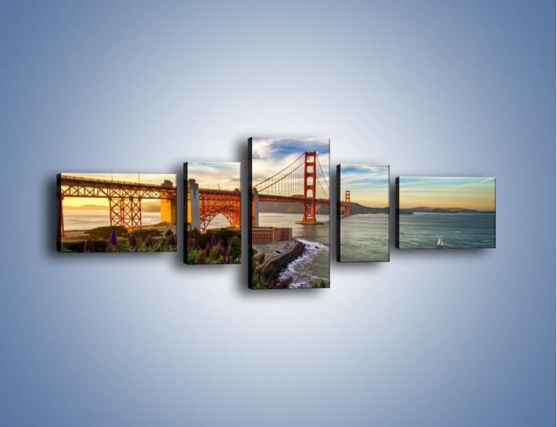 Obraz na płótnie – Most Golden Gate o zachodzie słońca – pięcioczęściowy AM332W6