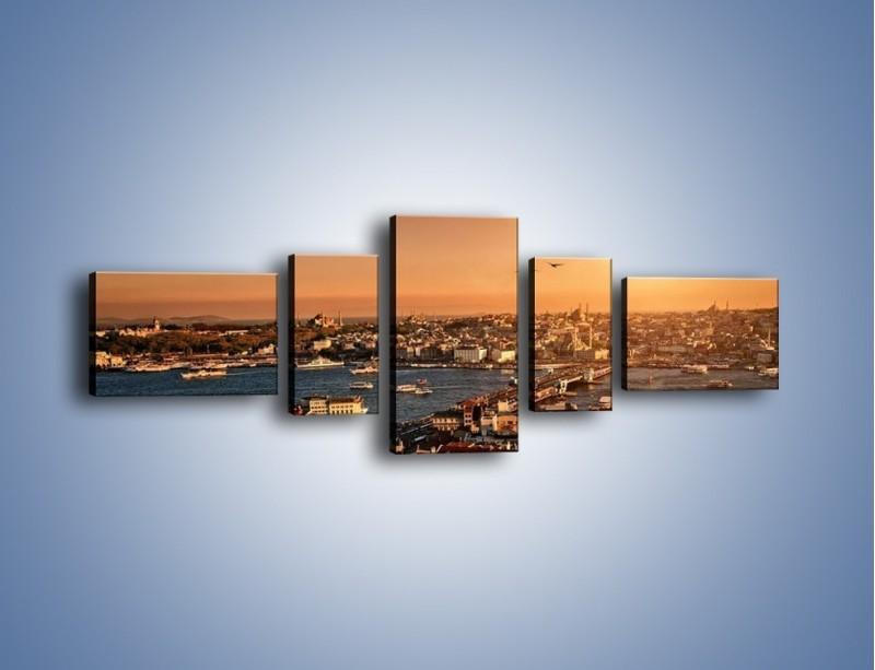 Obraz na płótnie – Istambuł o zachodzie słońca – pięcioczęściowy AM339W6