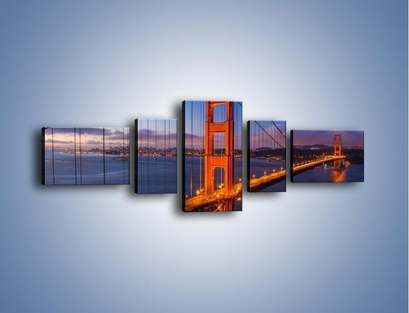 Obraz na płótnie – Rozświetlony most Golden Gate – pięcioczęściowy AM360W6