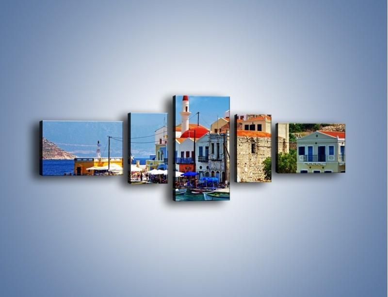 Obraz na płótnie – Kolorowe domki Santorini w Grecji – pięcioczęściowy AM364W6