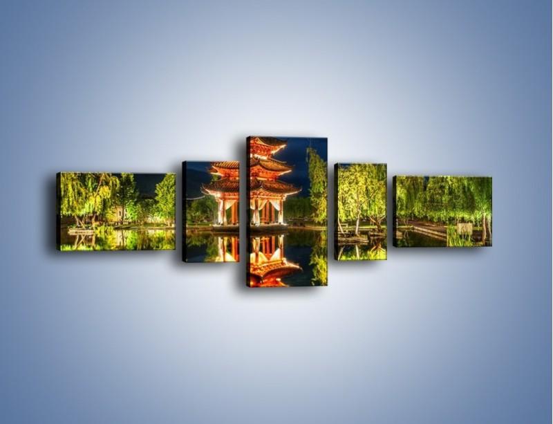 Obraz na płótnie – Urokliwy park w Chinach – pięcioczęściowy AM365W6
