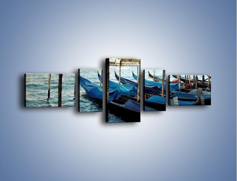 Obraz na płótnie – Zacumowane weneckie gondole – pięcioczęściowy AM375W6