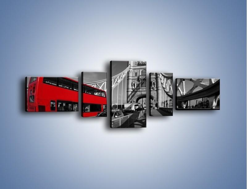 Obraz na płótnie – Tower Bridge i czerwony autobus – pięcioczęściowy AM394W6
