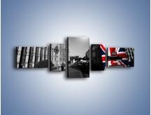Obraz na płótnie – Big Ben i autobus z flagą UK – pięcioczęściowy AM396W6