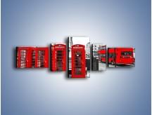 Obraz na płótnie – Czerwony autobus i budki telefoniczne – pięcioczęściowy AM397W6