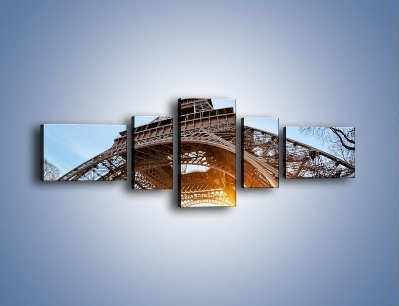 Obraz na płótnie – Wieża Eiffla w słońcu – pięcioczęściowy AM403W6