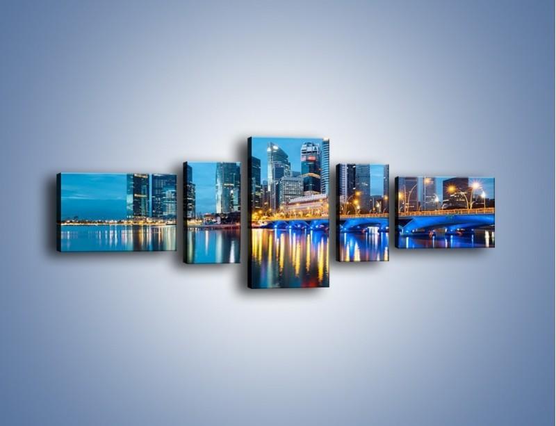 Obraz na płótnie – Kolorowe światła Singapuru – pięcioczęściowy AM408W6
