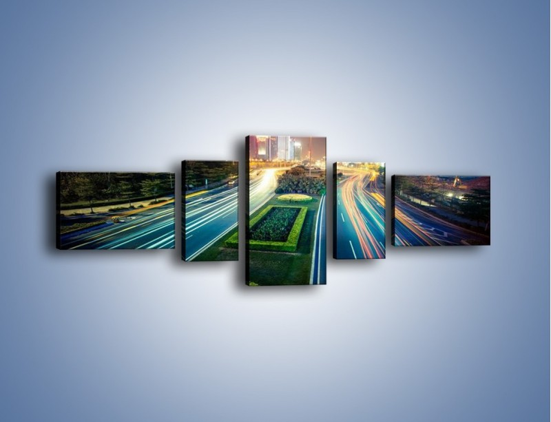 Obraz na płótnie – Uliczne światła Szanghaju – pięcioczęściowy AM409W6