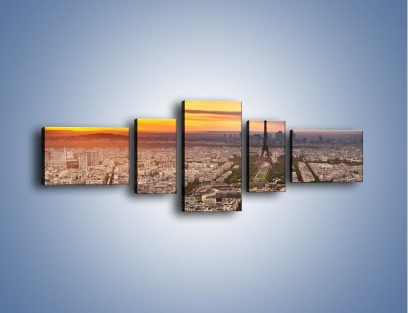 Obraz na płótnie – Zachód słońca nad Paryżem – pięcioczęściowy AM420W6