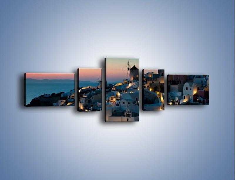 Obraz na płótnie – Domki na Santorini po zmierzchu – pięcioczęściowy AM421W6
