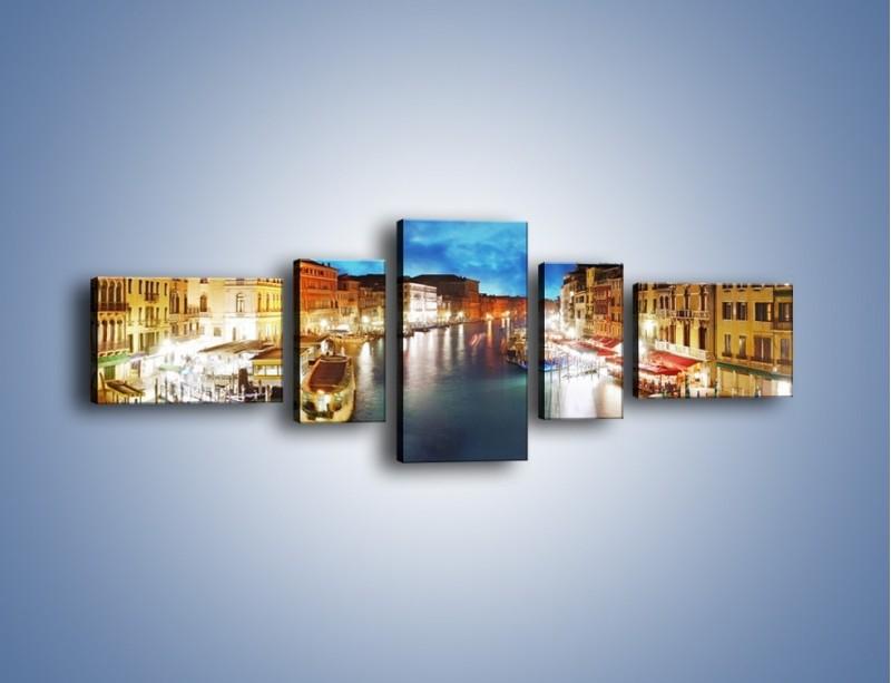 Obraz na płótnie – Światła Wenecji po zmroku – pięcioczęściowy AM430W6