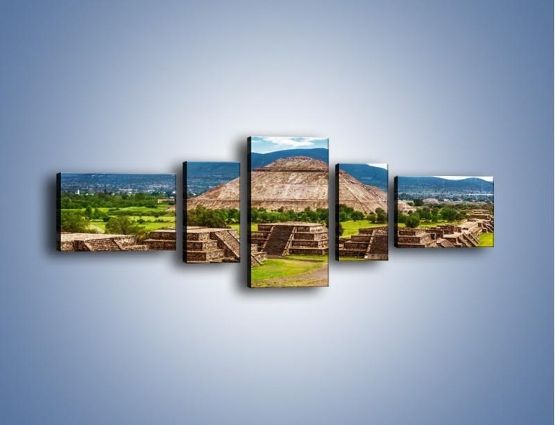 Obraz na płótnie – Piramida Słońca w Meksyku – pięcioczęściowy AM450W6