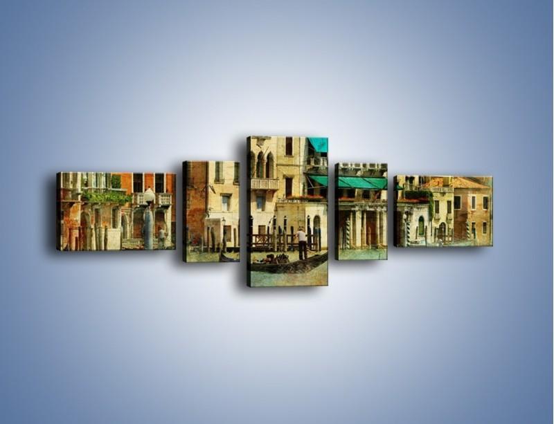 Obraz na płótnie – Weneckie domy w stylu vintage – pięcioczęściowy AM459W6