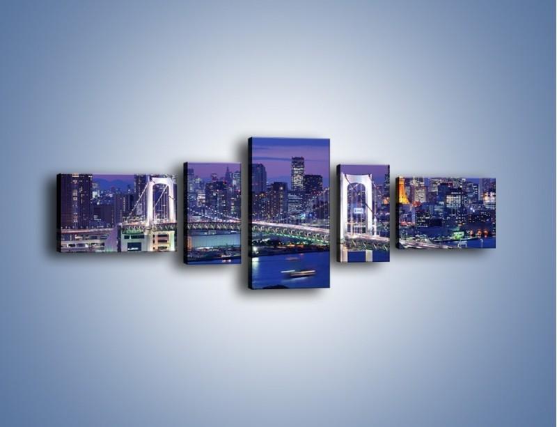 Obraz na płótnie – Tęczowy Most w Tokyo – pięcioczęściowy AM460W6