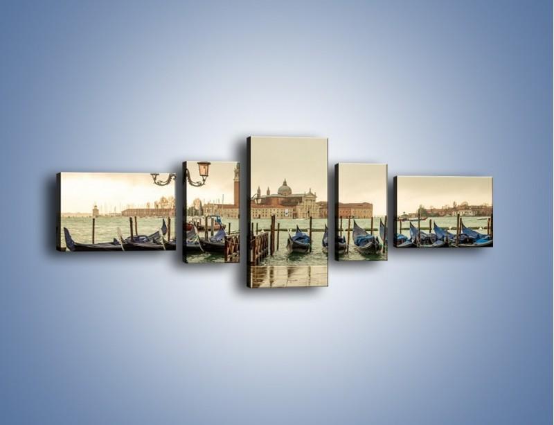 Obraz na płótnie – Zacumowane weneckie gondole – pięcioczęściowy AM462W6