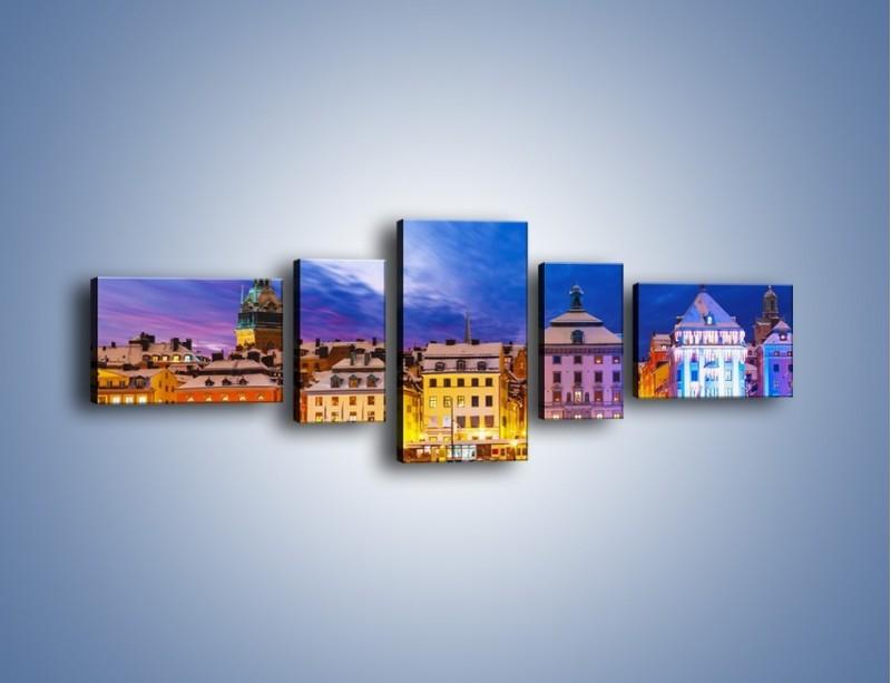 Obraz na płótnie – Sztokholm w zimowej scenerii – pięcioczęściowy AM468W6