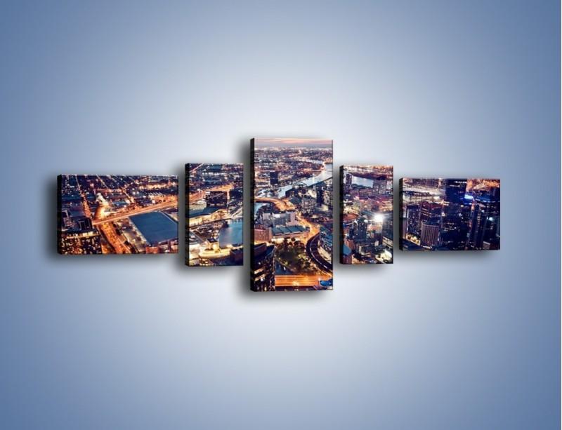 Obraz na płótnie – Panorama Melbourne po zmierzchu – pięcioczęściowy AM470W6
