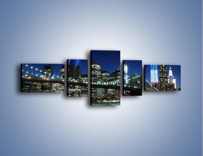 Obraz na płótnie – Most Brookliński nocą – pięcioczęściowy AM476W6