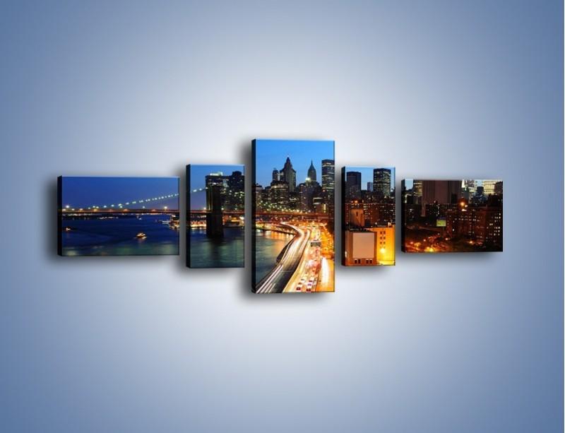 Obraz na płótnie – Manhattan wieczorową porą – pięcioczęściowy AM477W6