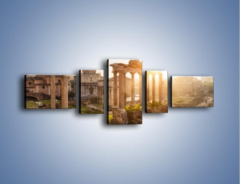 Obraz na płótnie – Rzymskie ruiny o zachodzie słońca – pięcioczęściowy AM480W6