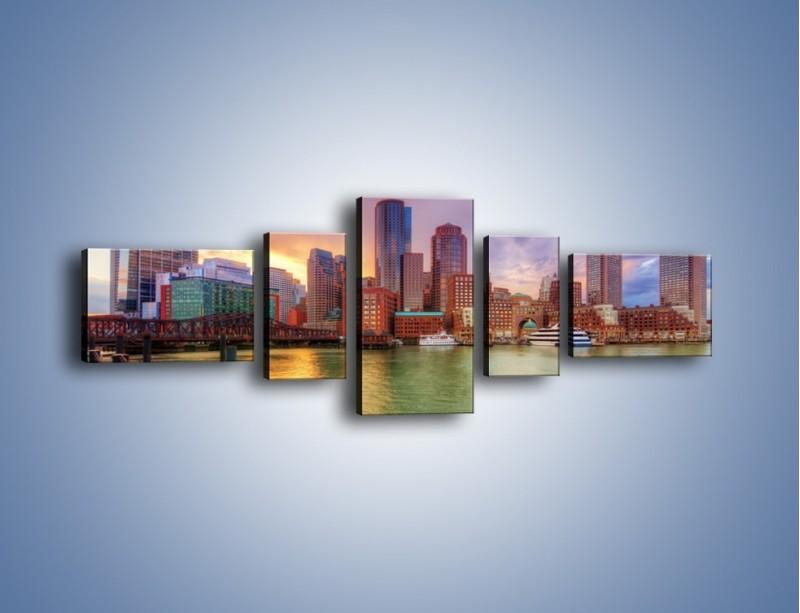 Obraz na płótnie – Widok na centrum Bostonu – pięcioczęściowy AM486W6