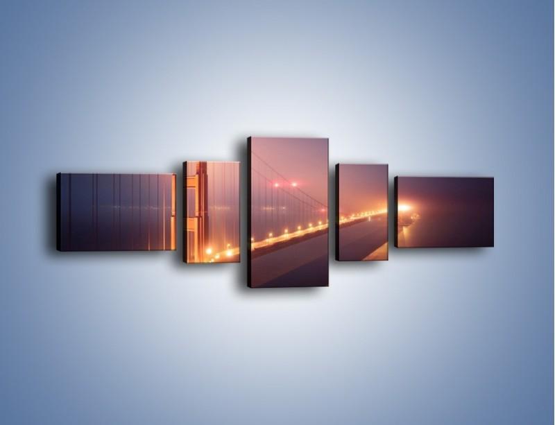 Obraz na płótnie – Most Golden Gate w nocnej mgle – pięcioczęściowy AM490W6