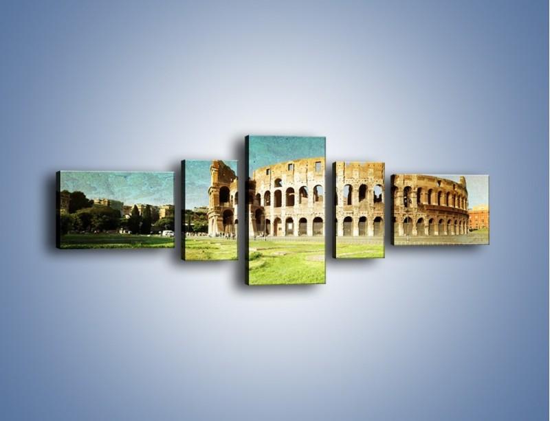 Obraz na płótnie – Koloseum w stylu vintage – pięcioczęściowy AM503W6