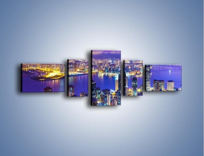 Obraz na płótnie – Wieczorna panorama Hong Kongu – pięcioczęściowy AM505W6