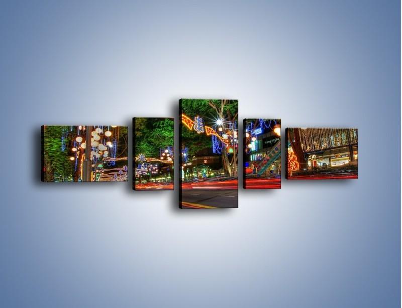 Obraz na płótnie – Noworoczne dekoracje w Singapurze – pięcioczęściowy AM616W6