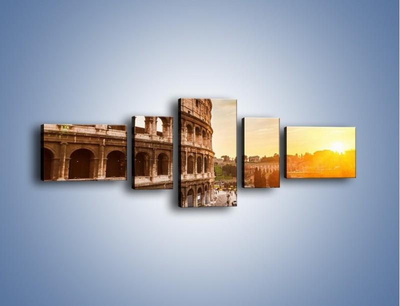 Obraz na płótnie – Rzymskie Koloseum o zachodzie słońca – pięcioczęściowy AM684W6