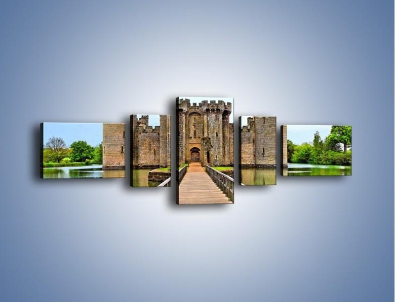 Obraz na płótnie – Zamek Bodiam w Wielkiej Brytanii – pięcioczęściowy AM692W6
