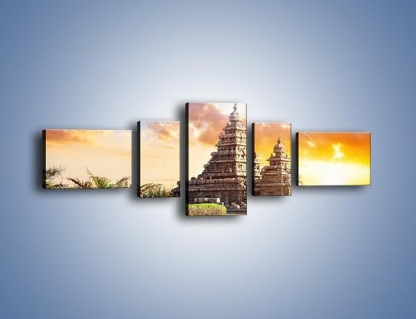 Obraz na płótnie – Świątynia Śiwy o zachodzie słońca – pięcioczęściowy AM696W6