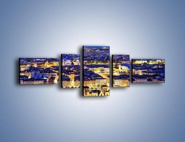 Obraz na płótnie – Nocna panorama Lyonu – pięcioczęściowy AM707W6